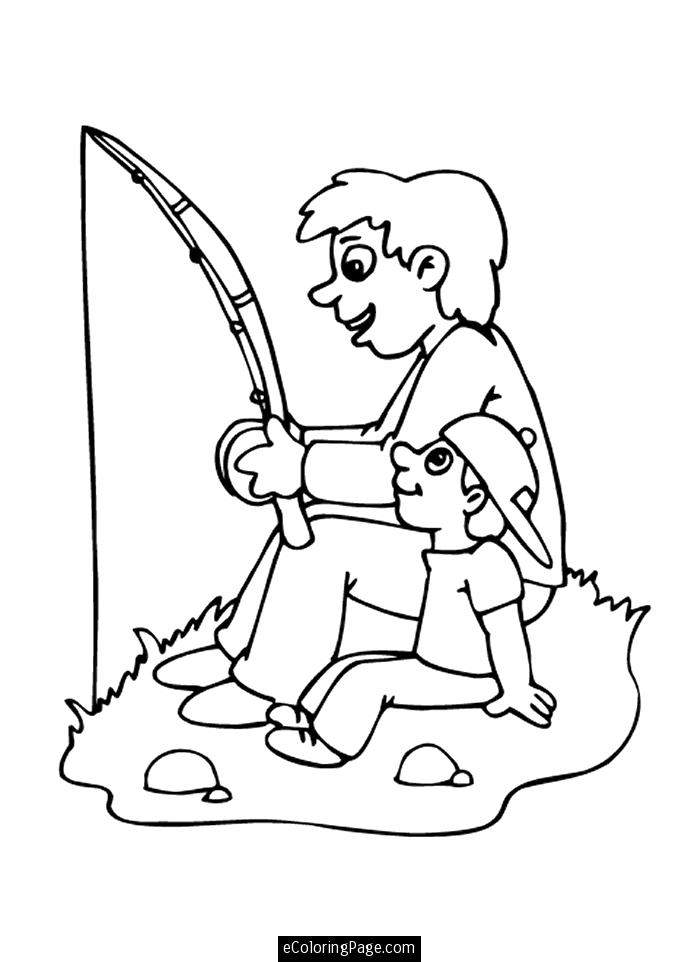 Father's Day clip art: Fishing Father – early play templates